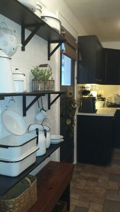 My white enamel collection of over 20 years finally has a home. Kitchen White, Country Kitchen, Farmhouse Chic, White Enamel, 20 Years, Cottage, Bed, Inspiration, Furniture
