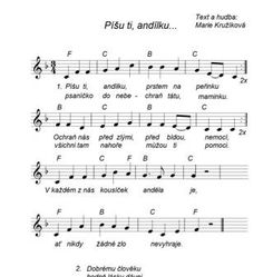 Píšu ti andílku-písnička Kids Songs, Advent, Sheet Music, Notes, The Originals, Musica, Autism, Report Cards, Nursery Songs