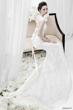 annasul y bridal 2015 cap sleeve lace sheath wedding dress side view ay2872b -- Annasul Y. 2015 Wedding Dresses