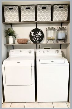Laundry Room Ideas - Space Saving DIY Creative Ideas for Tiny Laundry Rooms Small laundry room ideas - great ideas for a small closet laundry room or laundry nook!Small laundry room ideas - great ideas for a small closet laundry room or laundry nook! Tiny Laundry Rooms, Laundry Room Remodel, Farmhouse Laundry Room, Laundry Room Organization, Laundry Room Design, Farmhouse Decor, Modern Farmhouse, Farmhouse Ideas, Small Laundry Closet