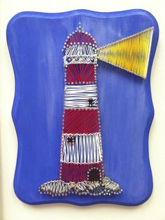 i love string art!  Lighthouse String & Nail Art  Customizable by FaceDesigns on Etsy, $60.00