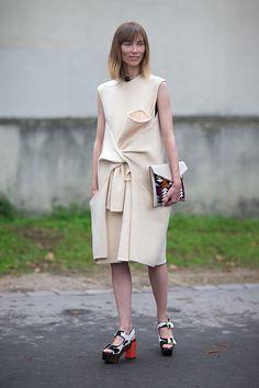 Street Style: Paris Fashion Week Spring 2014 - Anya Ziourova in Celine dress