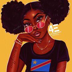 congolese babe - yellow Mini Art Print by foreverestherr Black Love Art, Black Girl Art, Black Is Beautiful, Black Art Painting, Black Artwork, Drawings Of Black Girls, Black Girl Cartoon, Female Cartoon, Black Art Pictures