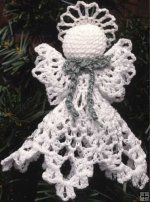 """Design by: Maggie Weldon Skill Level: Easy Size: The Littlest Angel: 3"""" tall Mini Clothespin Angel:Approximately 3"""" Tall Materials: The Littlest Angel:Crochet Cotton Thread (size 10) – 17 yds per ange"""