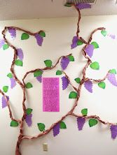 I am the Vine, Ye are the Branches - John - children's hallway bulletin boards for Shaping Hearts for God: The Cross and Empty Tomb Scripture Crafts, Faith Crafts, Bible Story Crafts, Bible Stories, Scripture Verses, Preschool Decor, Kids Decor, Church Crafts, Catholic Crafts