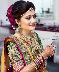 Niceeeeeeee Brides In 2019 Indian Wedding Jewelry Indian Niceeeeeeee Brides In 2019 Indian Wedding Jewelry Indian Maharashtrian Bridal Makeup Trends 2019 Makeup Trends 2019 Jewelry Trends Bridal Hairstyle Indian Wedding, Bridal Hairdo, Indian Wedding Hairstyles, Indian Bridal Fashion, Indian Bridal Makeup, Indian Bridal Wear, Bridal Beauty, Bride Hairstyles, Make Up Braut