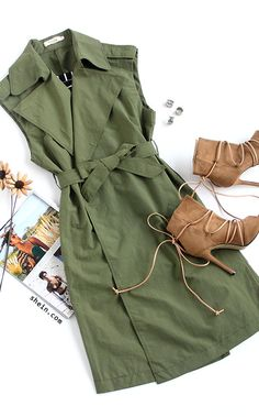 Army Green Self Tie Long Sleeveless Outerwear