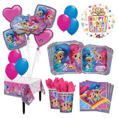 Amazon.com: The Ultimate 8 Guest 53pc Shimmer and Shine Birthday Party Supplies and Balloon Decoration Kit: Toys & Games