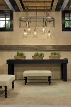 Industrial with contrast. Love the more traditional feeling benches with the sleek, yet rugged elements.