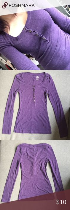 Sexy Stretch Purple Button Up Long Henley XS Super cute only worn a couple times. Tight stretchy purple button up long sleeve Henley XS Old Navy Tops Tees - Long Sleeve
