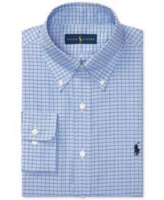 e1258af4e988 Polo Ralph Lauren Men's Regular Fit Blue Plaid Oxford Dress Shirt & Reviews  - Dress Shirts - Men - Macy's