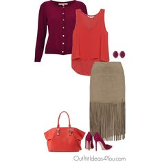 This coral pink looks great on a toned autumn. I styled this color with a berry plum color which looks really interesting. I really like the unexpected color combo here. A taupe neutral softens the look.Have fun and wear what you love!Jen ThodenShop This LookNougat red top$44-houseoffr