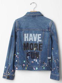 Must-Haves From Ellen DeGeneres' Spring Collection With Gap Kids Denim JacketDenim Jacket Kids Denim Jacket, Cropped Denim Jacket, Ripped Denim, Denim Jackets, Painted Jeans, Painted Clothes, Ellen Degeneres, Cool Kids Clothes, Diy Clothes