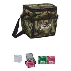 Large, insulated main compartment holds up to 24 cans and the removable liner is easy to clean. Large front pocket and back mesh pocket as well as two zippered side pockets give you many storage options and adjustable shoulder strap also the heavy polyester construction, Pink and green camouflage camo design. Promotional item for rain, gym, fitness, day care, camps, travel, health care, sport, hospitals, schools, banks, trade shows handouts, gifts, outdoors.