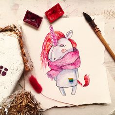Единорог @mariya_brusovtsova #watercolor #unicorn