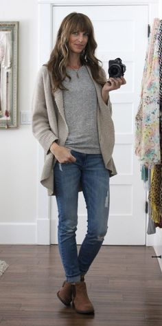 grey tee + cardigan + distressed jeans + ankle boots