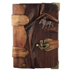 African Lion Pendant on a Brown Leather Journal / Notebook /Notepad / Diary / Sketchbook / Handmade / Book / Chamois Paper / Women /Men / Children / Office Product