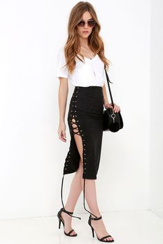 Come Together Black Suede Lace-Up Skirt at Lulus.com!
