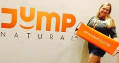 One of our wonderful Jump Executives posing in front of our Jump banner. #Momentum #JumpNatural #Health #Fitness