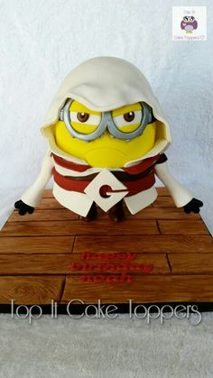 Standing minion cake. Assassin's Creed minion cake.