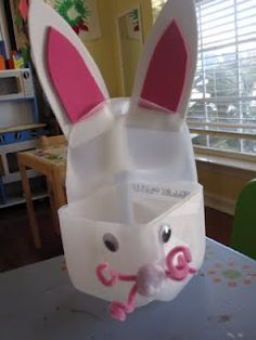 bunny basket out of milk carton