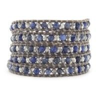 Sodalite and Crystal Satin Wrap Bracelet on Natural Grey Leather