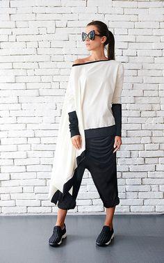 Plus Size Maxi tunica/Oversize manica lunga tunica di Metamorphoza