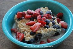 Blueberry baked Oatmeal -E - can replace blueberries with other fruit or even pumpkin. :)