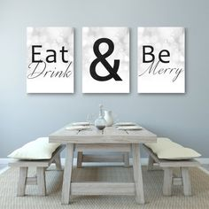 Eat Drink Be Merry  This is a cute artwork printed on canvas that will make a great home decor addition. Perfect for a birthday, anniversary,