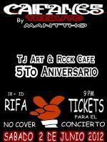 MANTTHO (Tributo a Caifanes) en Tijuana 2012    Tributo a CAIFANES realizado por el grupo  local MANTTHO con un excelente performance y gran ensamble    en este evento Tj Art & Rock te Regala 2 BOLETOS para que asistas al concierto de la banda original que tendra su concierto en el ESTADIO CALIENTE.    Sábado 2 de Junio 2012  -  8:00 pm    Lugar: Tj Art & Rock Café    No Cover 18+ID