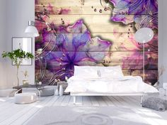 Photo Wallpaper Wall Murals Non Woven 3D Modern Art Floral Pink Flowers Wood Effect Wall Decals Bedroom Decor Home Design Wall Art 441 by GlitterBlast on Etsy https://www.etsy.com/listing/481426848/photo-wallpaper-wall-murals-non-woven-3d