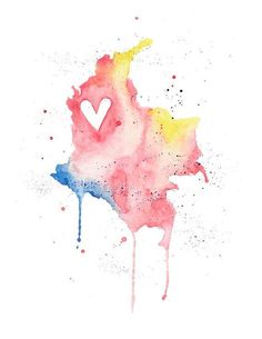 or - Colombia Love / Watercolor Map Print / Wedding Gift / Anniversary Gift / Moving Gift / Travel / Wanderlust / South America Colombian Cities, Colombian Art, Watercolor Map, Watercolor Illustration, Watercolor Paintings, Colombia Map, Colombia Travel, Heart Location, Fauna Marina