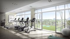 The cardio machines are positioned to take advantage of the glorious views outside. Your sun salutations will be warm and inviting as the natural light streams in from floor-to-ceiling windows. Take your workout outside on the adjoining yoga/stretch terrace. #Gym #Fitness #Condo #Toronto