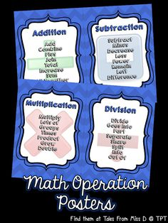 Help students gain understanding and vocabulary with these Math Operations Posters.   Terminology is displayed on 4 separate posters for Addition, Subtraction, Multiplication and Division.  This set also includes an outline page for student reference.
