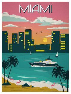 Image of Vintage Miami Travel Poster