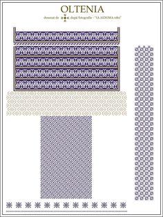 Ie Oltenia - SemneCusute. Embroidery Motifs, Embroidery Designs, Palestinian Embroidery, Embroidery Techniques, Cross Stitching, Romania, Beading Patterns, Pixel Art, Cross Stitch Patterns