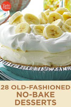 Easy No Bake Desserts, No Bake Treats, Sweet Desserts, Sweet Recipes, Delicious Desserts, Best Summer Desserts, Dessert Aux Fruits, Baked Banana, Baking Recipes