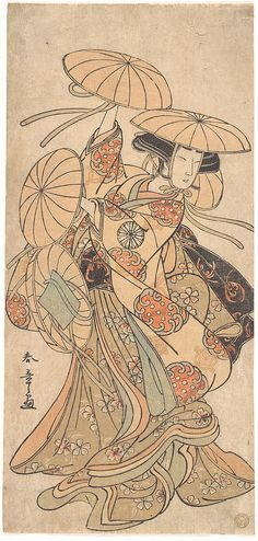 Kabuki Actor Nakamura Tomijūrō I in a Female Dance Role Artist: Katsukawa Shunshō (Japanese, Period: Edo period Date: ca. ink and color on paper Japanese Illustration, Illustration Art, Art Illustrations, Geisha, Samurai, Art Chinois, Art Asiatique, Art Japonais, Japanese Painting