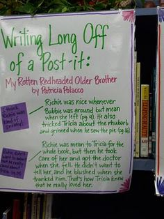 The Reader's Notebook - Writing Long off a Post-it and Reading Time line