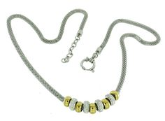 S.Michael Designs Mesh Necklace w/ Yellow & White Rondel and Crystals #SMichaelDesigns