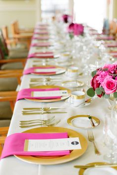 Gold and bright pink place settings make this wedding table pop: http://www.stylemepretty.com/2014/10/31/pink-and-gold-wedding-in-port-ludlow/ | Photography: Nikki Closser - http://www.nikkiclosser.com/