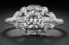 .60 Art Deco Platinum and Diamond Engagement Ring
