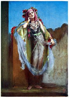An Egyptian dancer.    Percy Anderson, from Costume: fanciful, historical, and theatrical, by Eliza Aria, London, 1906.