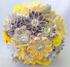 Fabric Wedding Bouquet brooch bouquet Yellow Silver and от LIKKO