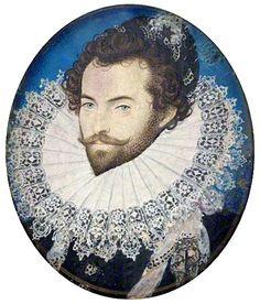 Portrait of Walter Raleigh, near age by Nicholas Hilliard, c. Tudor History, British History, Art History, American History, House Of Stuart, Tudor Monarchs, Walter Raleigh, Roanoke Island, William Johnson