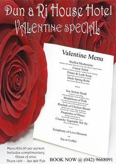 Valentines set menu – including glass of wine