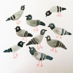 Art And Illustration, Illustrations Vintage, Pigeon, You Draw, Art Design, Bird Art, Art Inspo, Bunt, Painting & Drawing