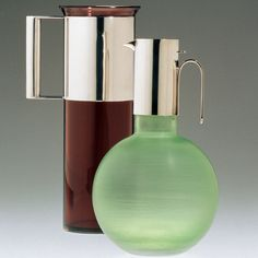 """Lella and Massimo Vignelli - These glass and silver carafes from the 1950s were included in """"Timelessness,"""" an exhibition of the designs of Lella and Massimo Vignelli at the Italian Cultural Institute of New York in 2012."""