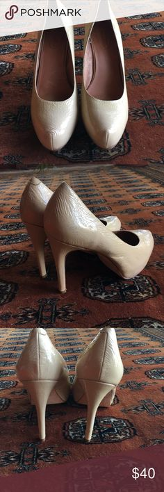 "Corso Como Cream Patent Pumps! These comfy heels have padding under the ball of the foot so you can dance the night away! They match everything too! Probably worn 5x max. Patent is slightly rubbed on the side but not noticeable. Super cute! 4"" heel, 0.5"" platform. Corso Como Shoes Heels"