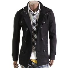Doublju Mens Double PEA Wool Half Trench Coat(868) $74.99